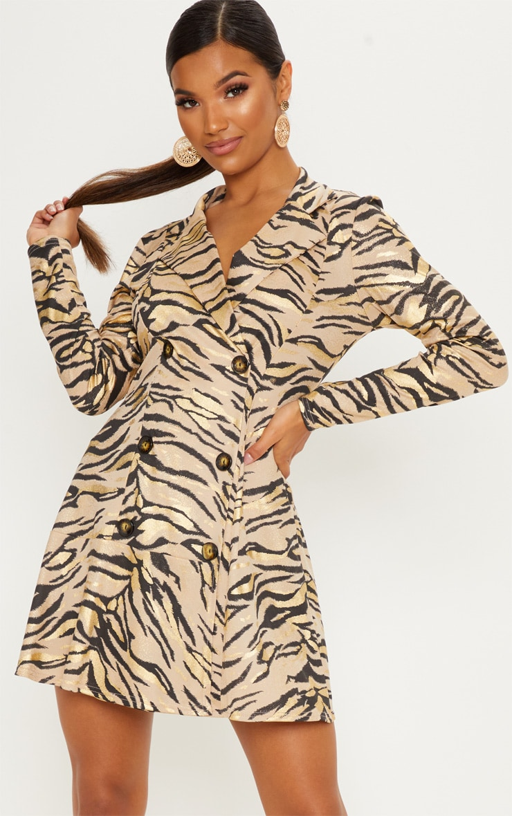 fe25b6e400 Stone Metallic Tiger Print Blazer Dress image 1