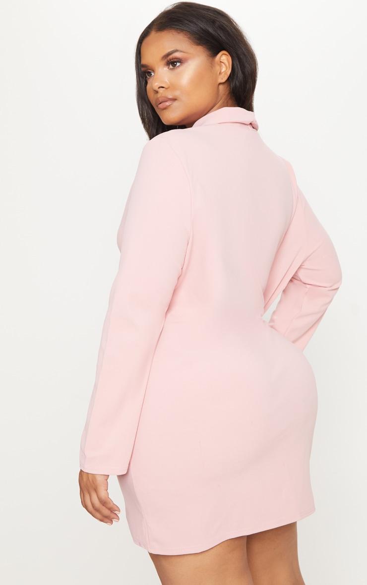 Plus Dusty Pink Gold Button Oversized Blazer Dress 2