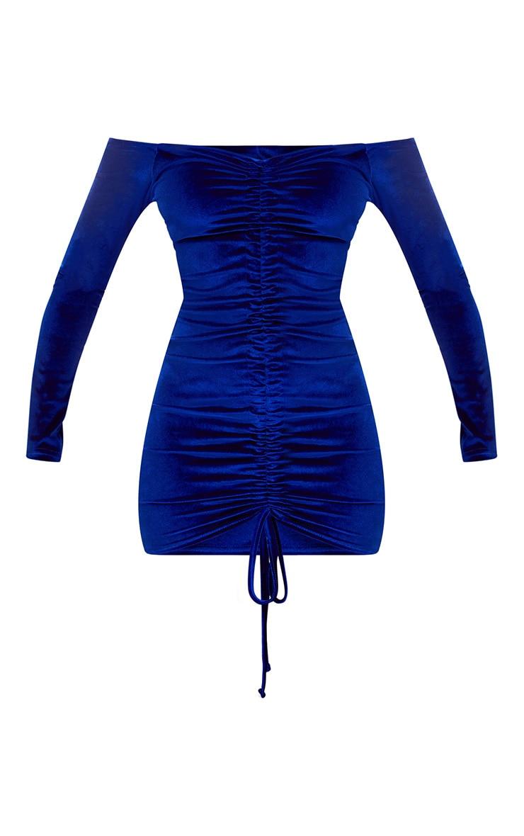 Blue Velvet Bardot Long Sleeve Ruched Bodycon Dress 3