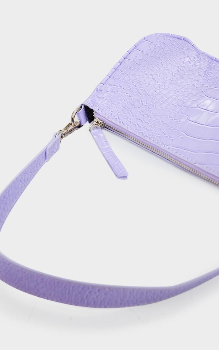 Lilac Croc Shoulder Bag 2