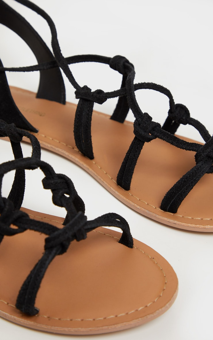 Black Knot Strappy Leather Sandal 4