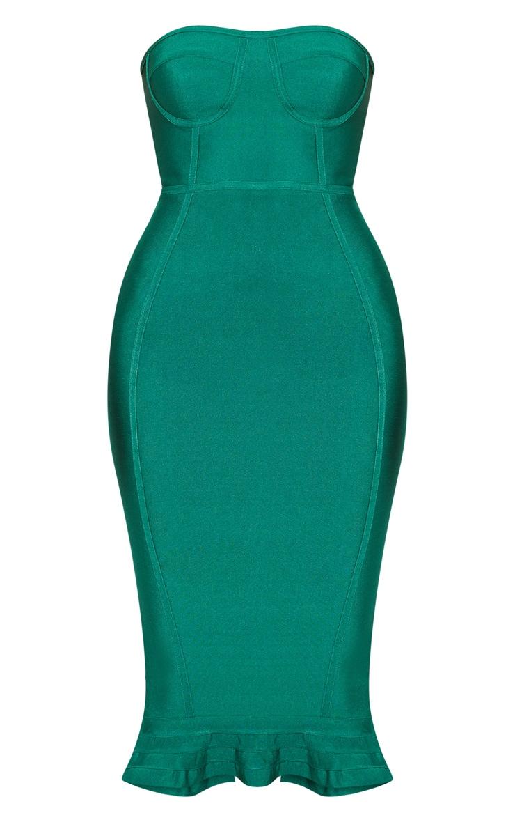 Green Frill Hem Bandage Midi Dress image 3