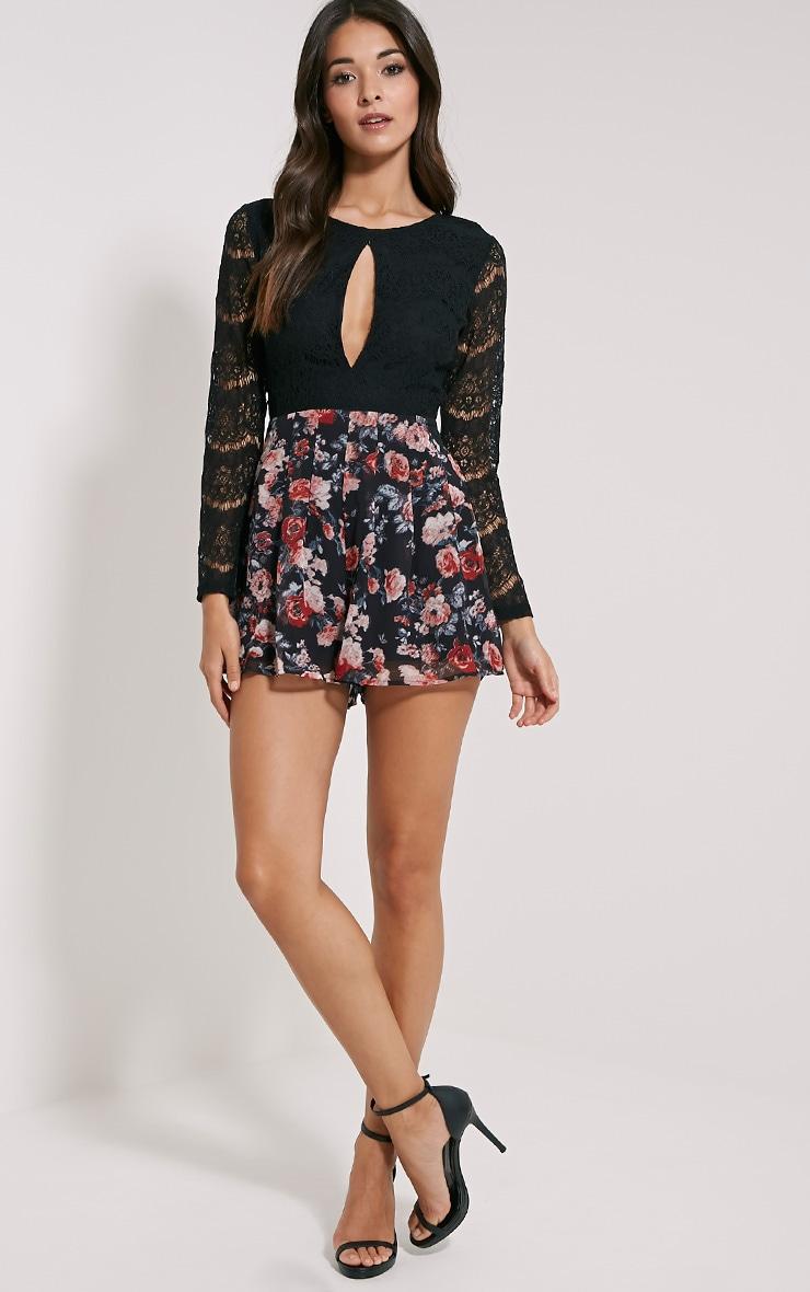 Adela Black Floral Lace Playsuit 3