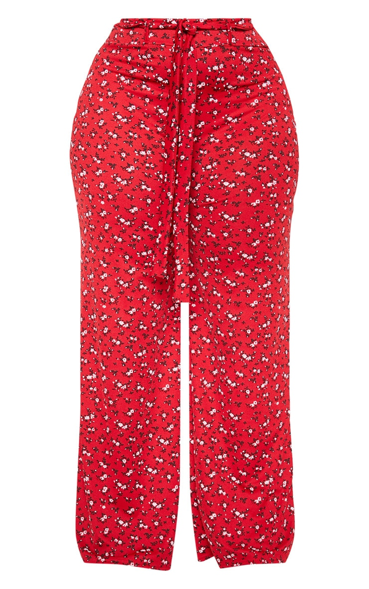 Plus Red Ditsy Floral Tie Waist Wide Leg Pants 3