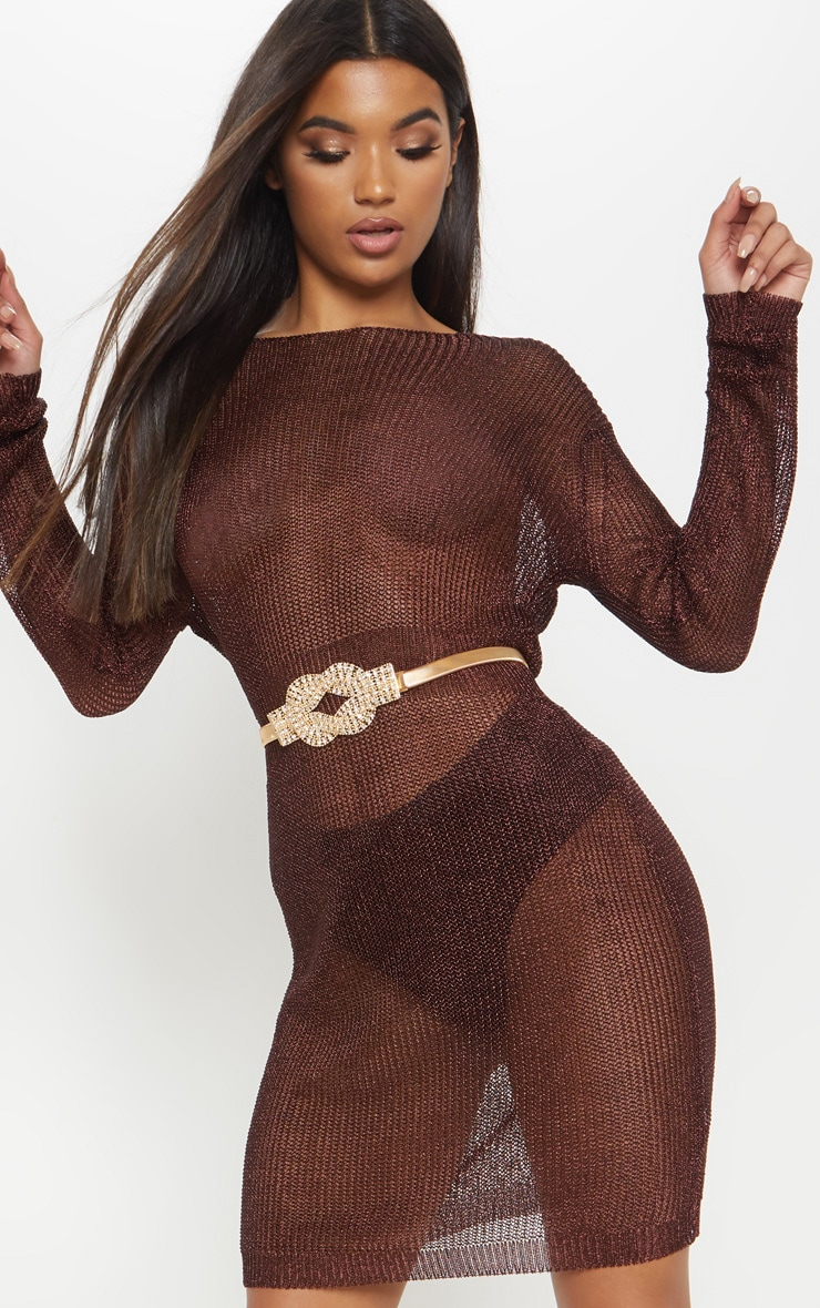 Brown Plunge Back Metallic Knitted Dress 5