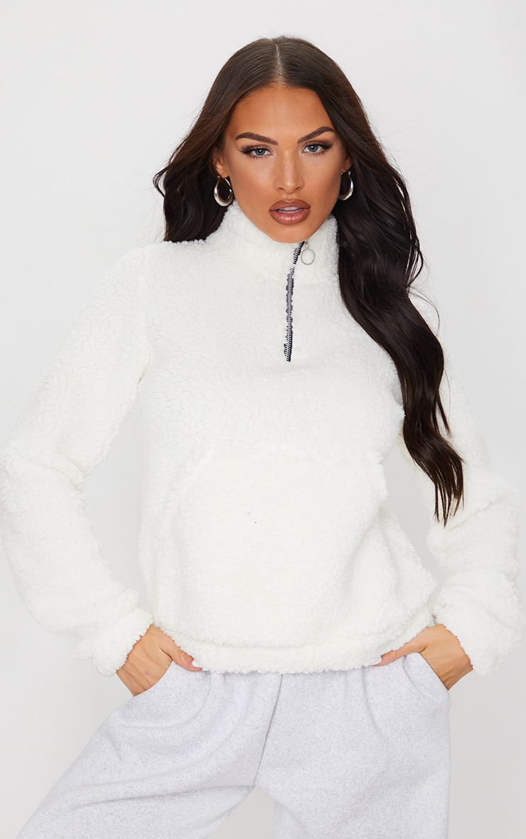 Cream Borg Pocket Front Sweatshirt 1