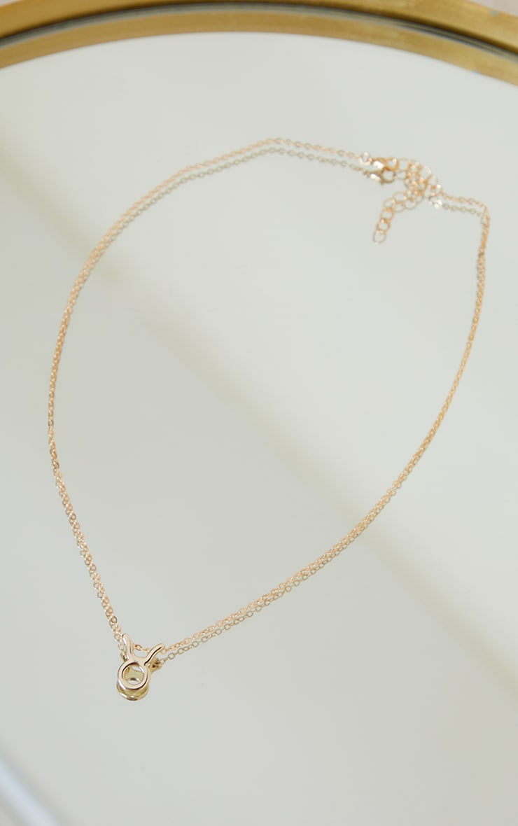 Gold Taurus Star Sign Necklace 3