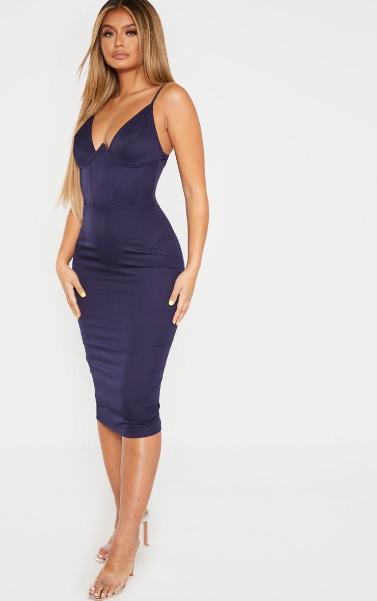 Navy V Bar Binded Midi Dress 4