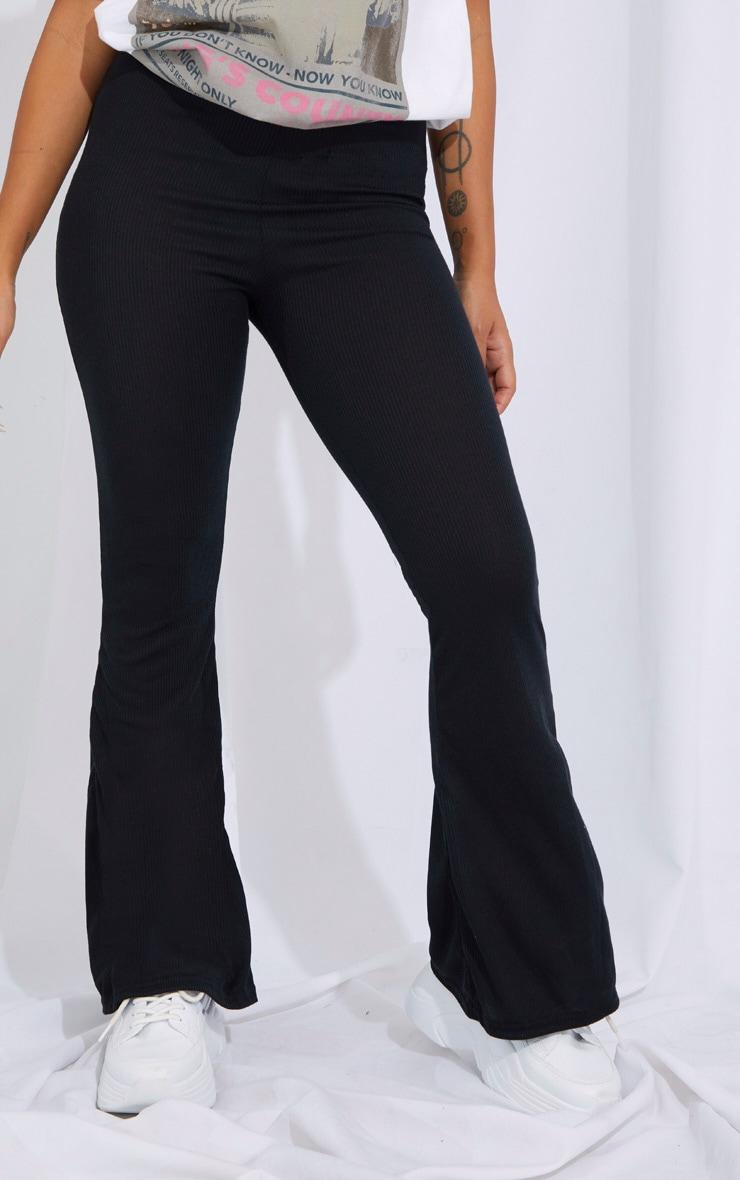 Petite Black Ribbed Flared Pants 2
