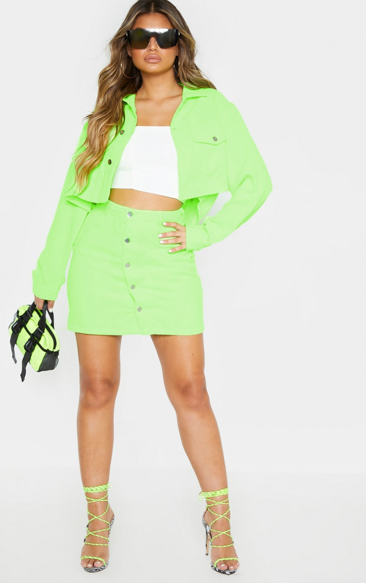 Neon Lime Cord Button Down Skirt 3