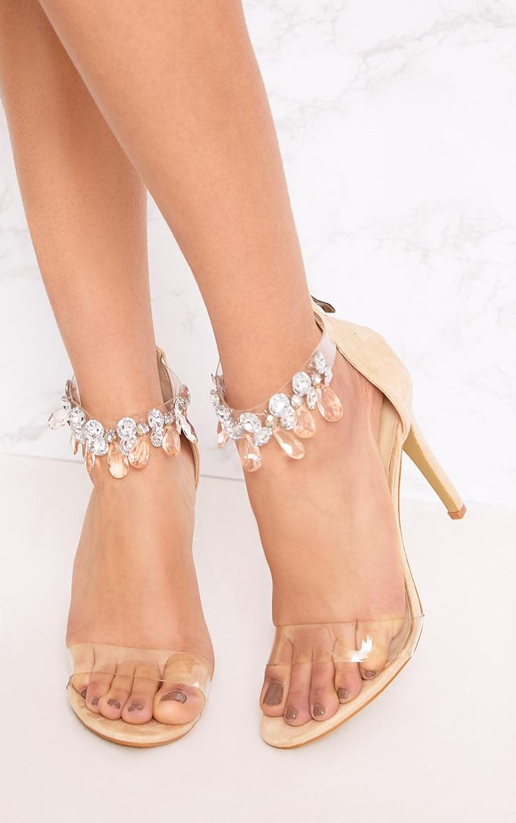 Cream Jewelled Strap Heels 3