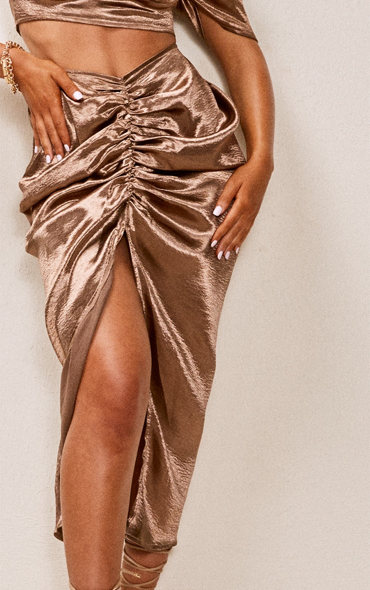 Chocolate Brown Satin Ruched Puff Sleeve Cup Detail Crop Top 4