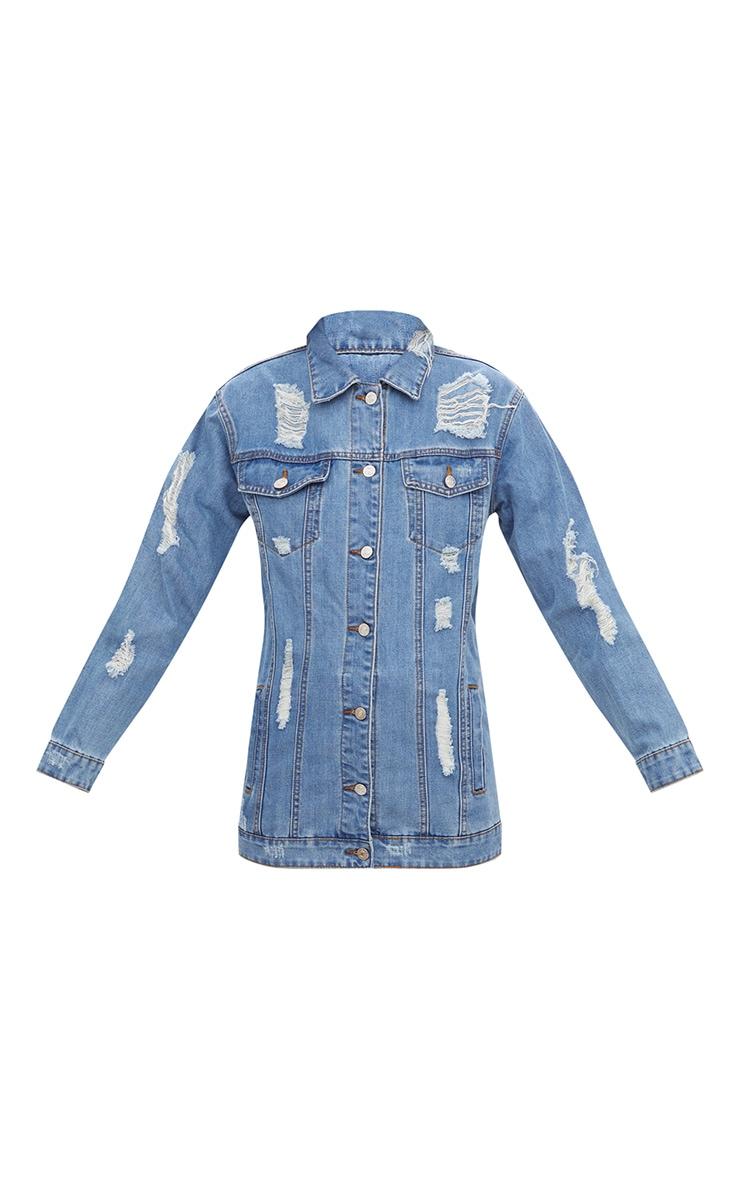 Mid Wash Denim Distressed Longline Jacket  3