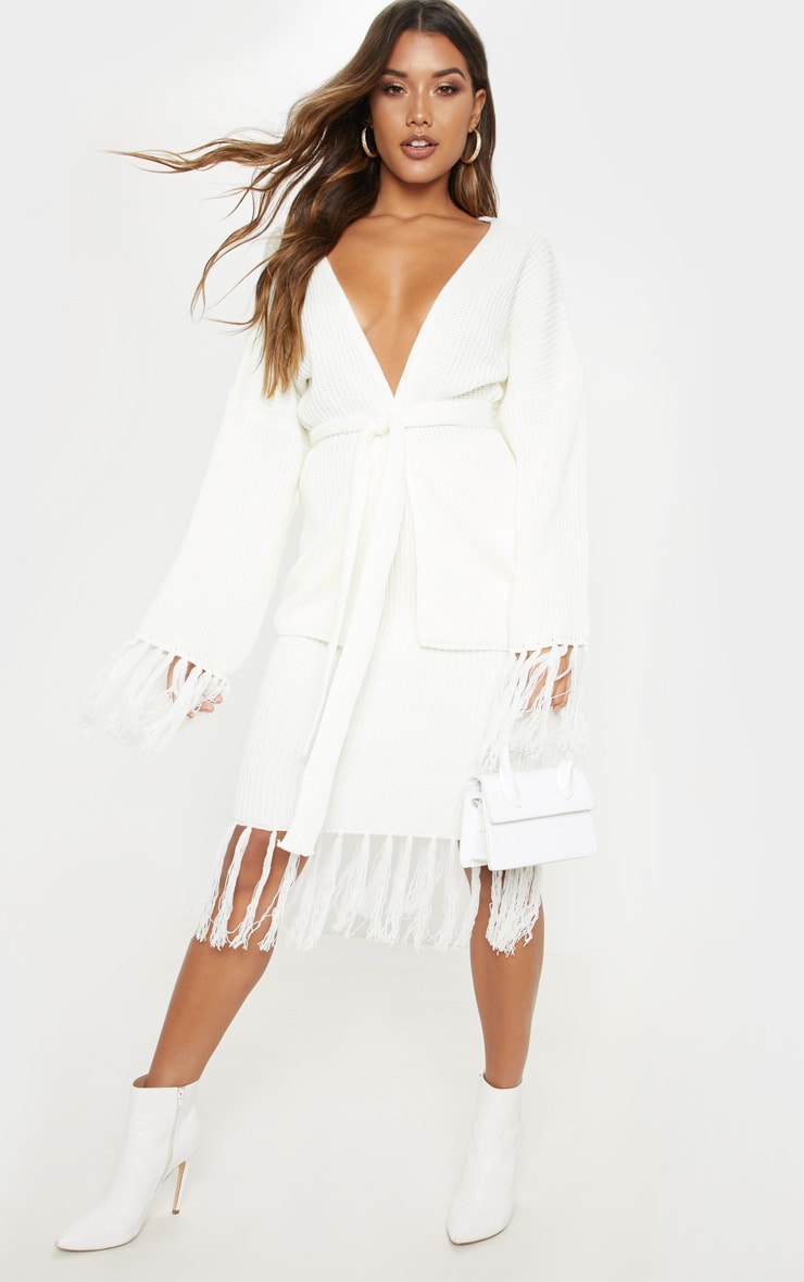 Cream Tassel Hem Knitted Midi Skirt 1