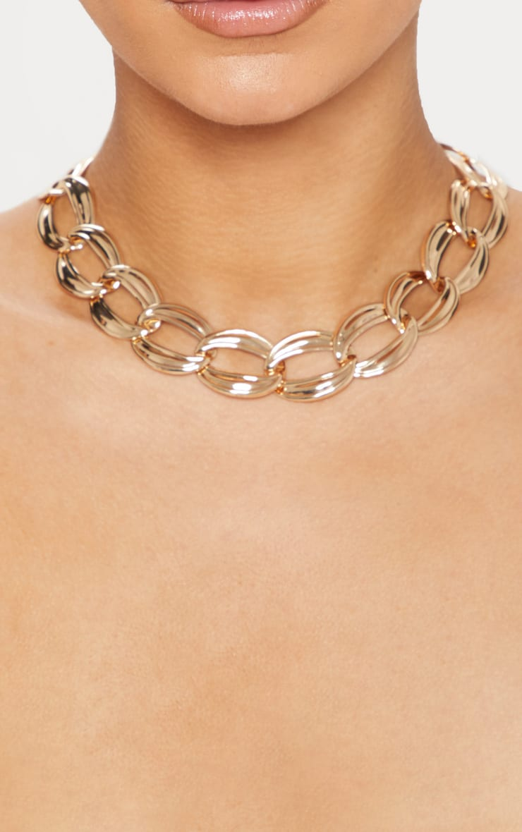 Gold Chunky Chainlink Necklace 2
