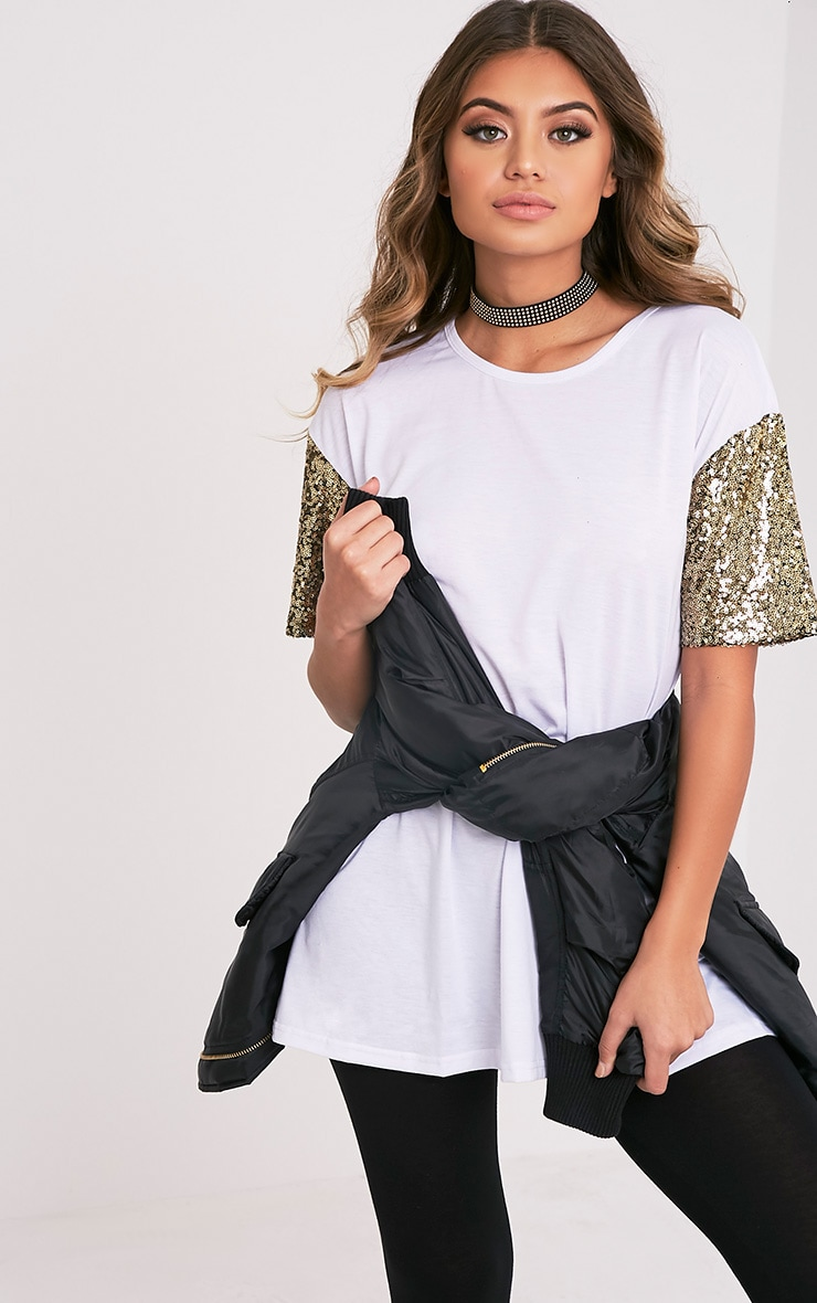 Rei White Sequin Sleeve Jersey Oversized T Shirt 1