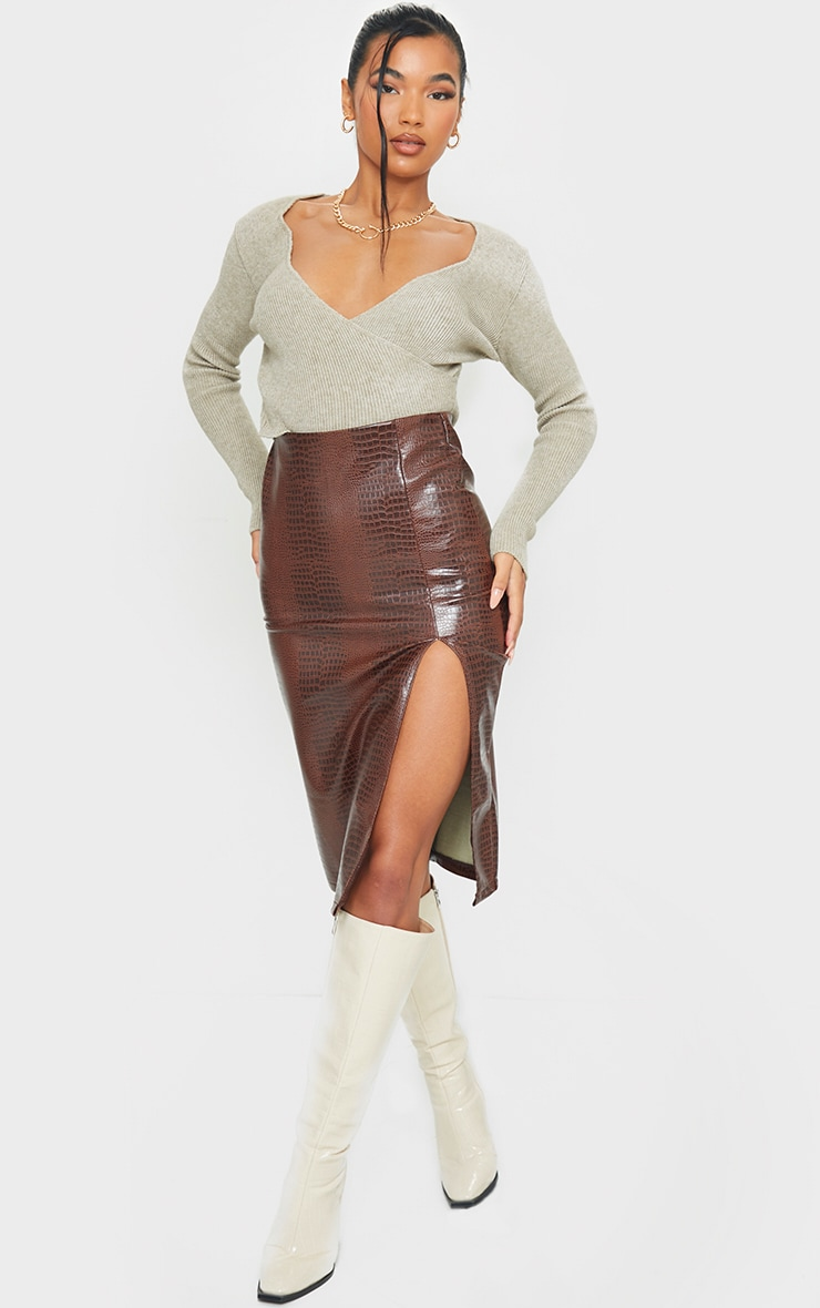 Chocolate Faux Leather Split Detail Croc Midi Skirt 1