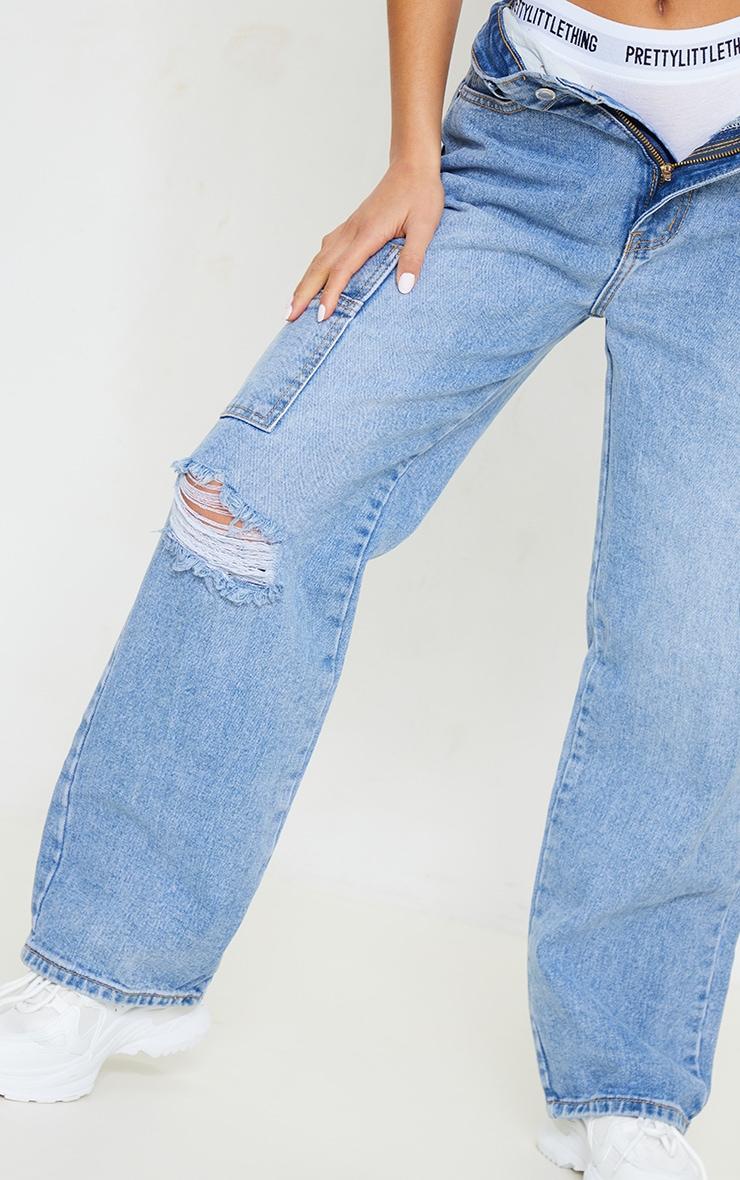Petite Light Blue Wide Leg Distressed Cargo Jeans 4