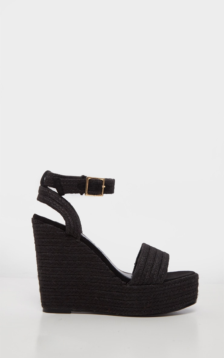 Black Espadrille Wedge Sandal 4