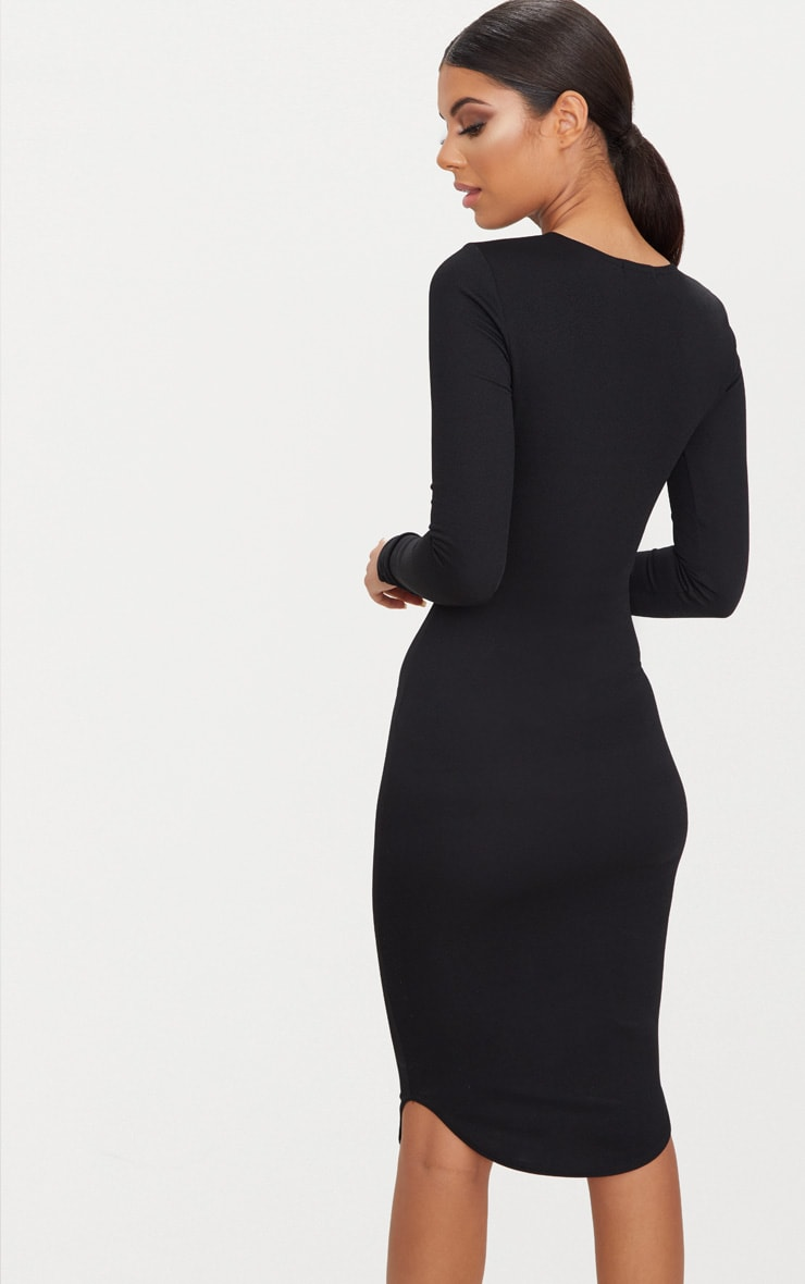 Black Long Sleeve Curved Hem Midi Dress 2