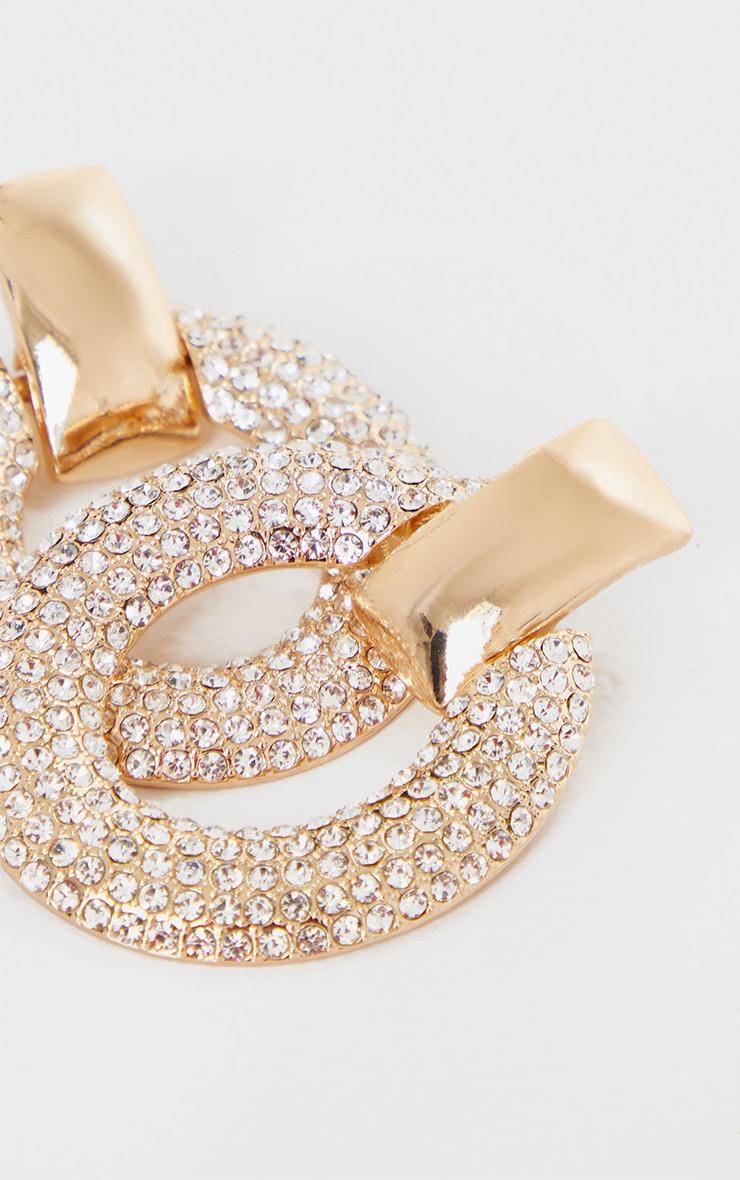 Gold Diamante Oval Large Door Knocker Earrings 3