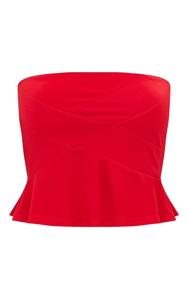 Bandeau rouge ourlet à volant 3