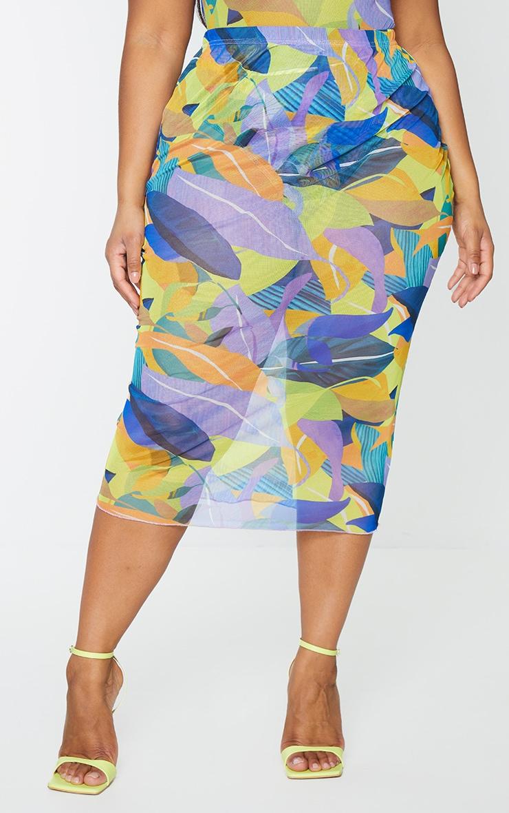 Plus Yellow Geo Print Mesh Bodycon Midi Skirt 2