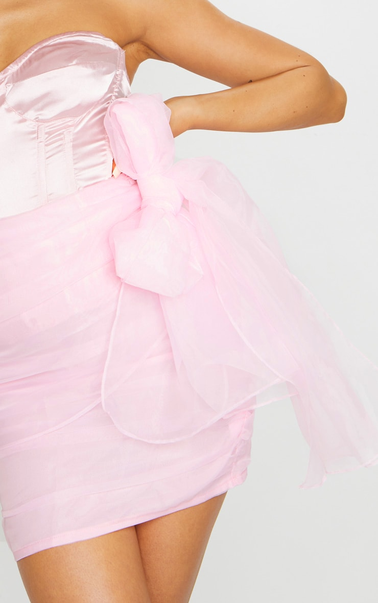 Pink Organza Bow Detail Mini Skirt 5