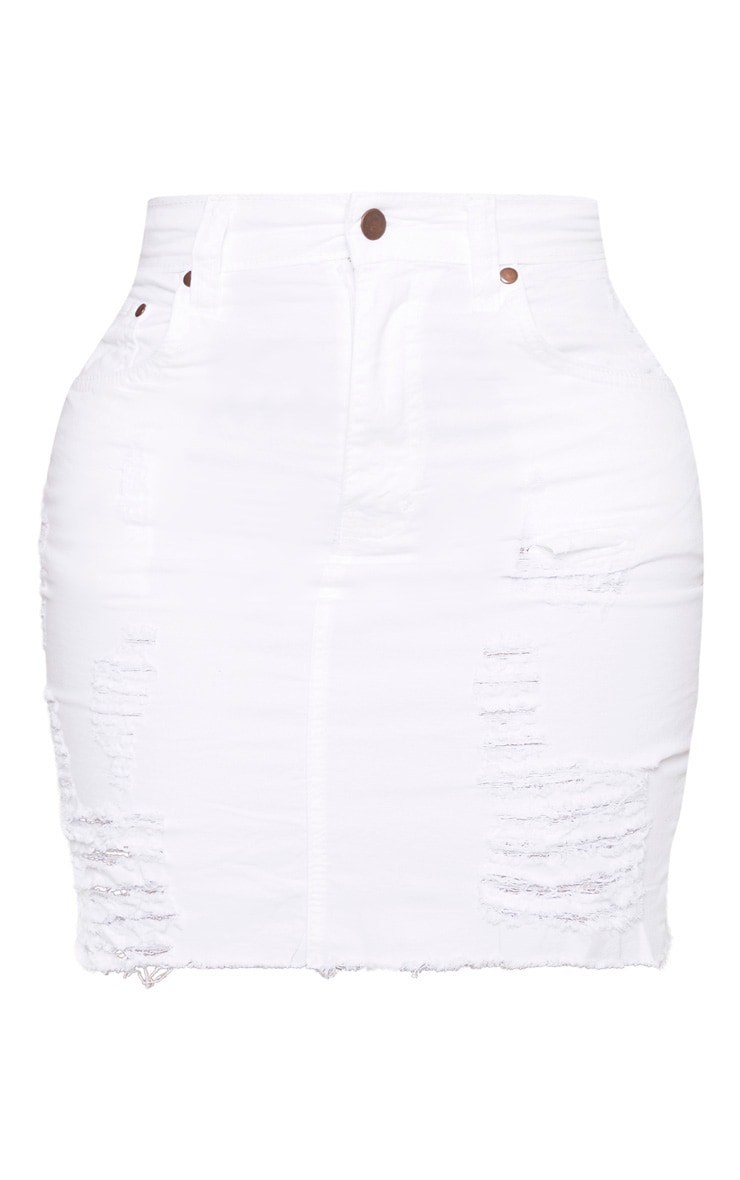 Shape White High Waist Distressed Denim Skirt 3