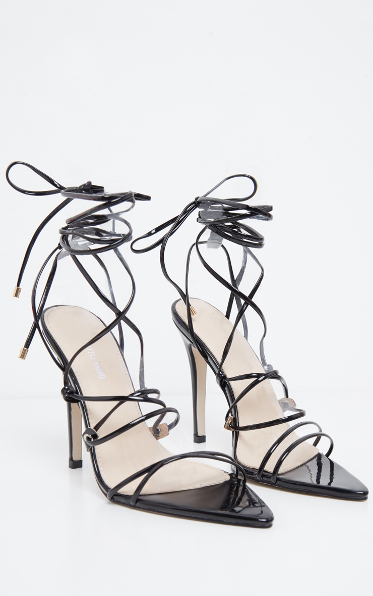 Black Strappy Gladiator Point Toe Heel 3