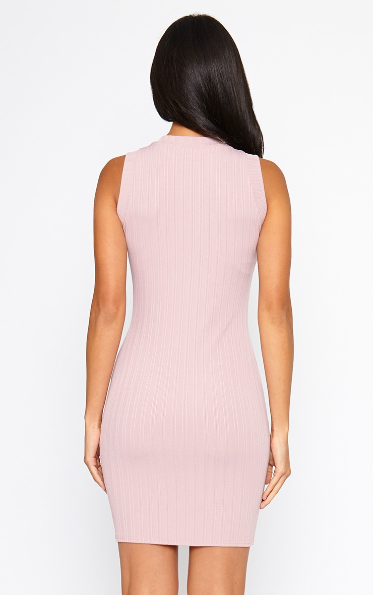 Stefany Mauve Ribbed Mini Dress 3