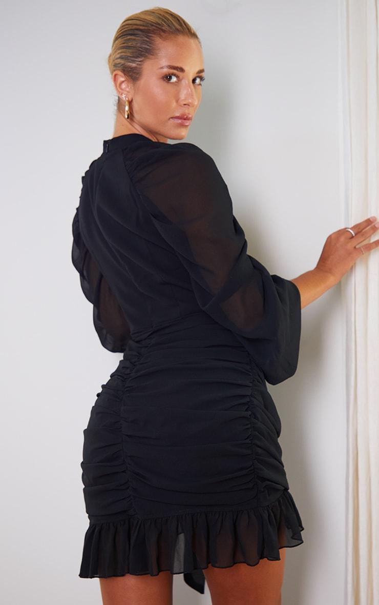 Black Chiffon Ruched Sleeves Frill Hem Bodycon Dress 2