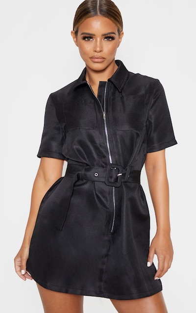 Petite Black Zip Detail Belted Utility Dress