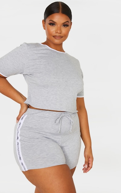 PRETTYLITTLETHING Plus Grey Pyjama Short Set
