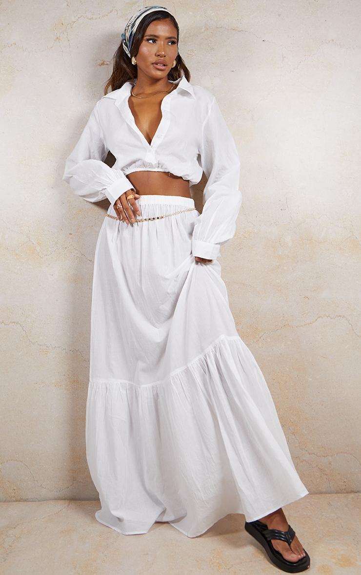 White Linen Feel Maxi Skirt 1