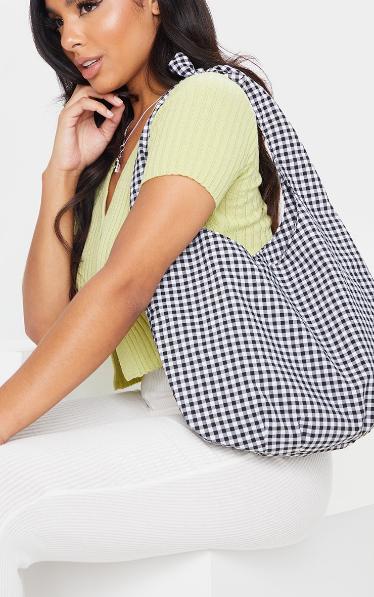 Black And White Gingham Check Tote Bag 1