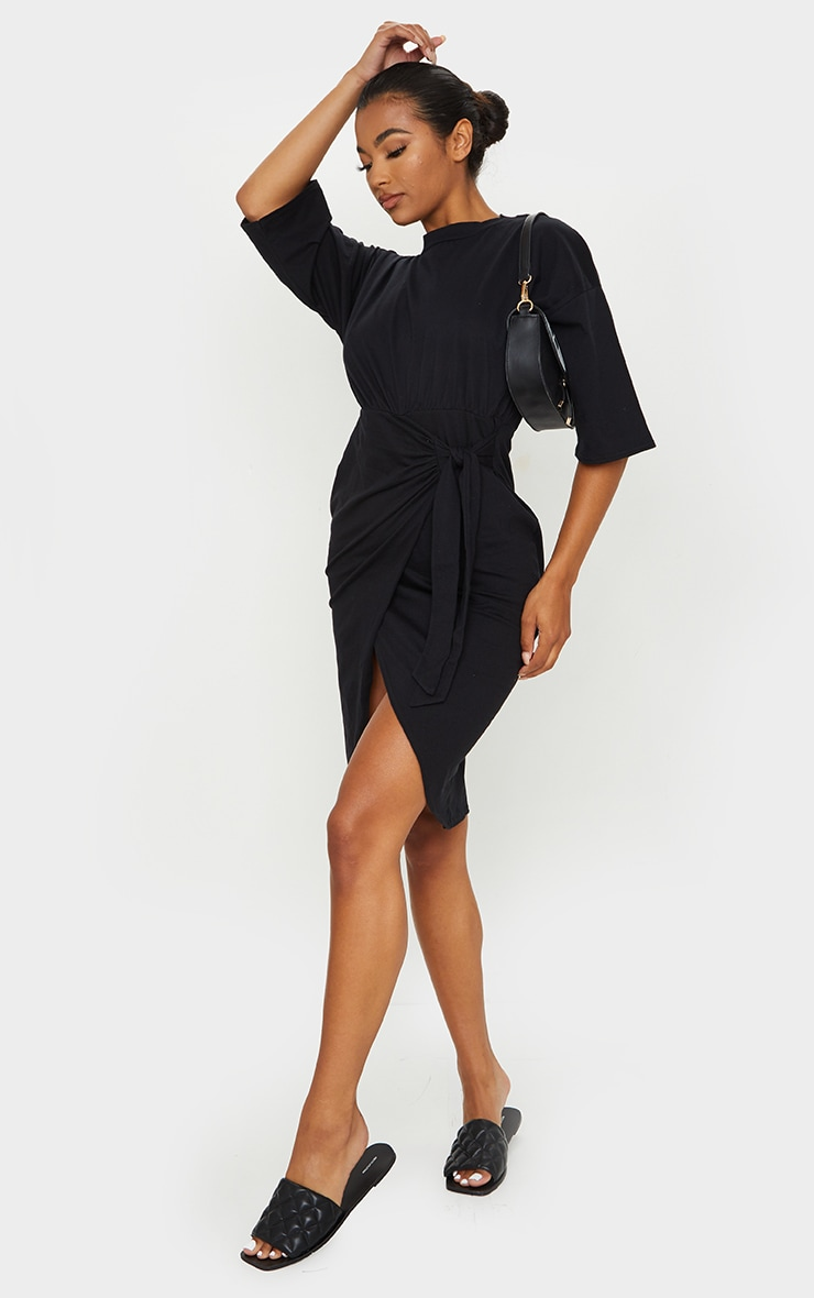 Black Wrap Tie Detail T Shirt Dress 1
