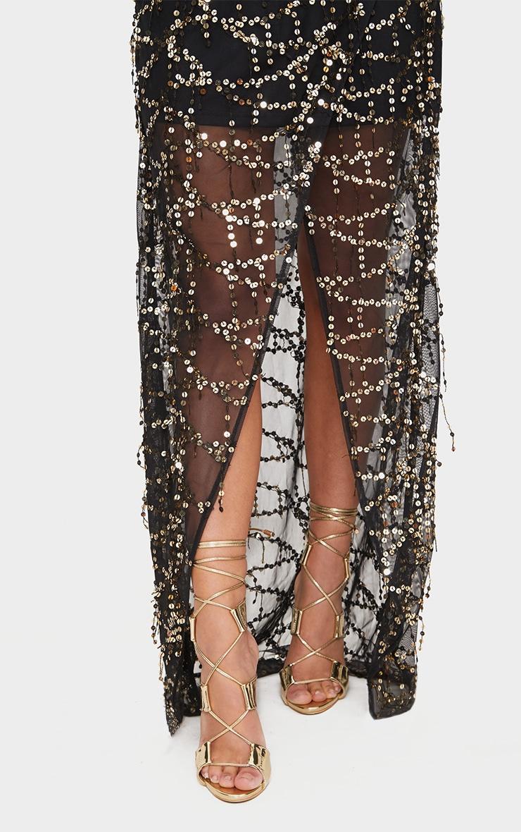 Black Bardot Sequin Wrap Maxi Dress 5