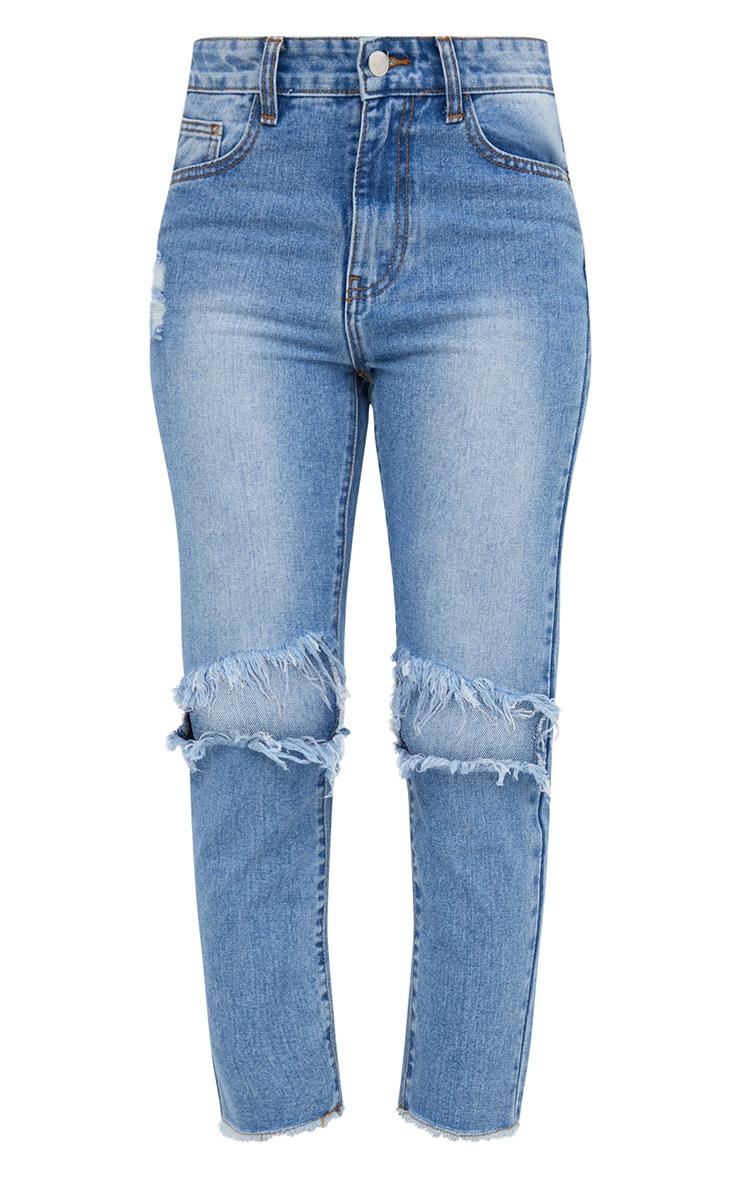 Mid Wash Extreme Knee Rip Slim Jean 3