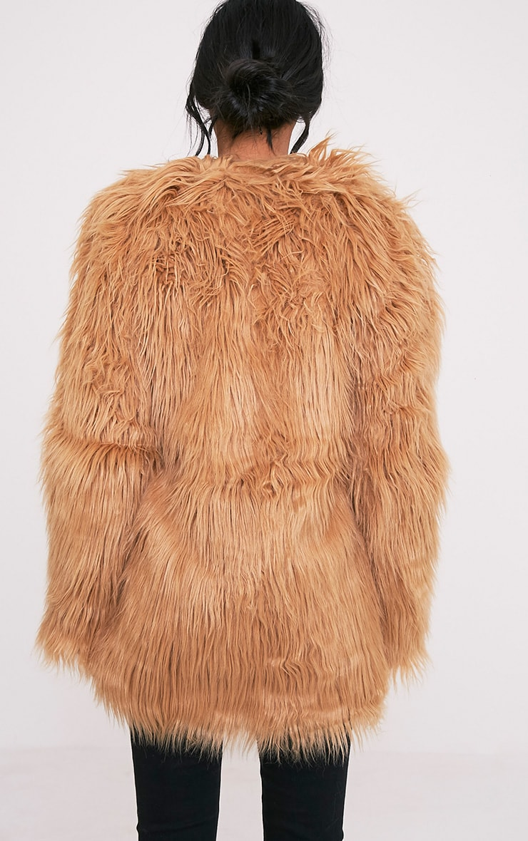 Amaria Camel Shaggy Faux Fur Jacket 2