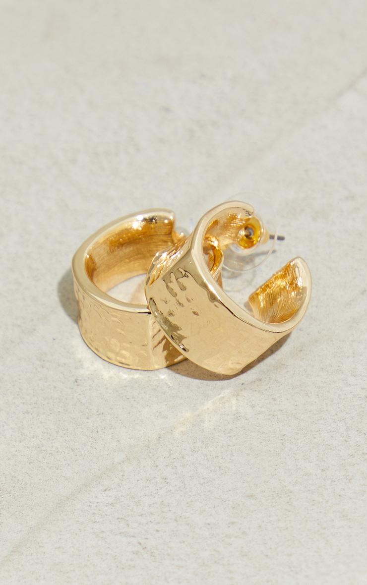 Gold Mini Chunky Hammered Hoop Earrings 3