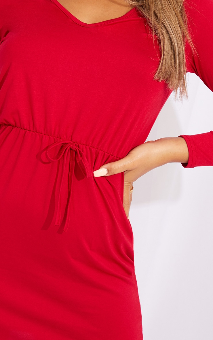 Red Tie Waist Detail Long Sleeve Bodycon Dress 4