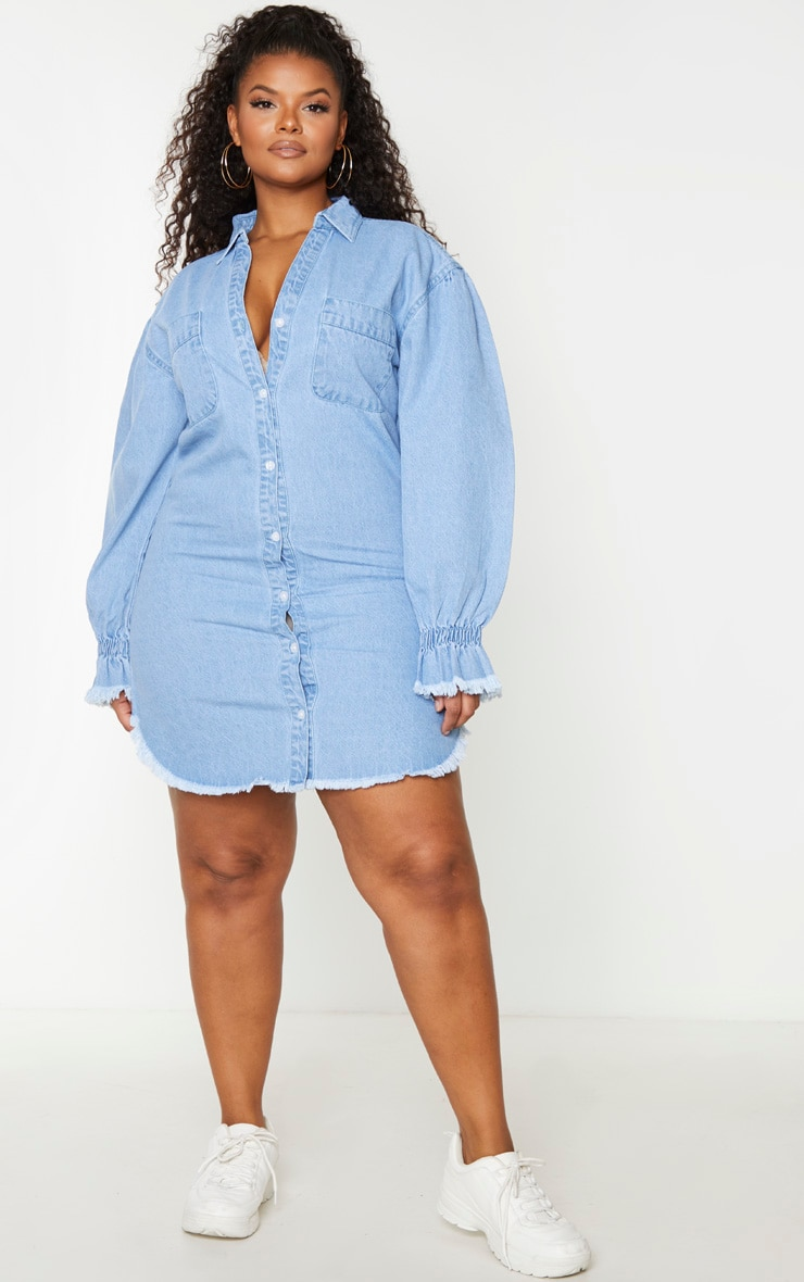 Plus Light Wash Denim Fray Hem Shirt Dress 3