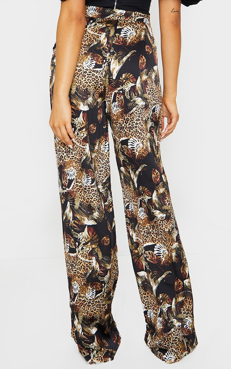 Multi Leopard Print Satin Wide Leg Pants 3