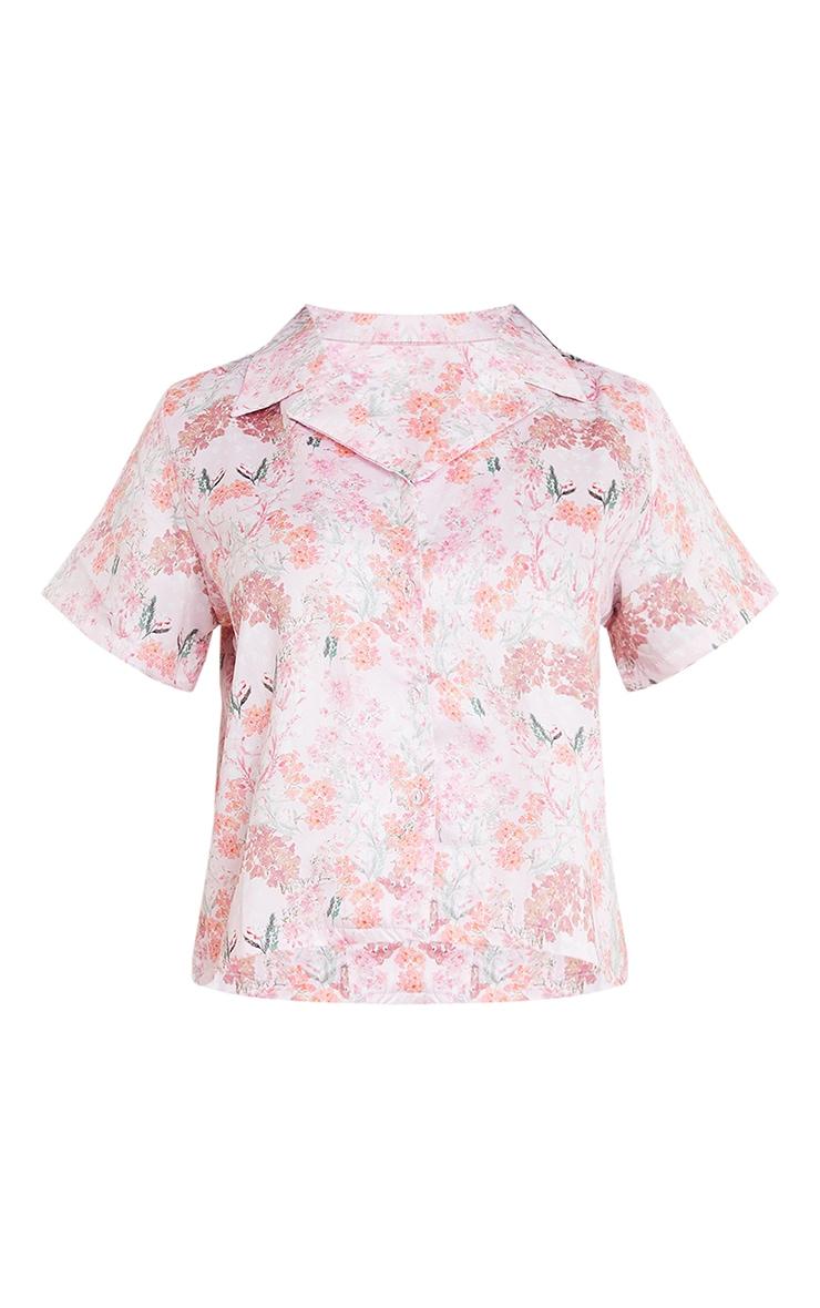 Pink Floral Satin Shirt And Ruffle Short PJ Set 5