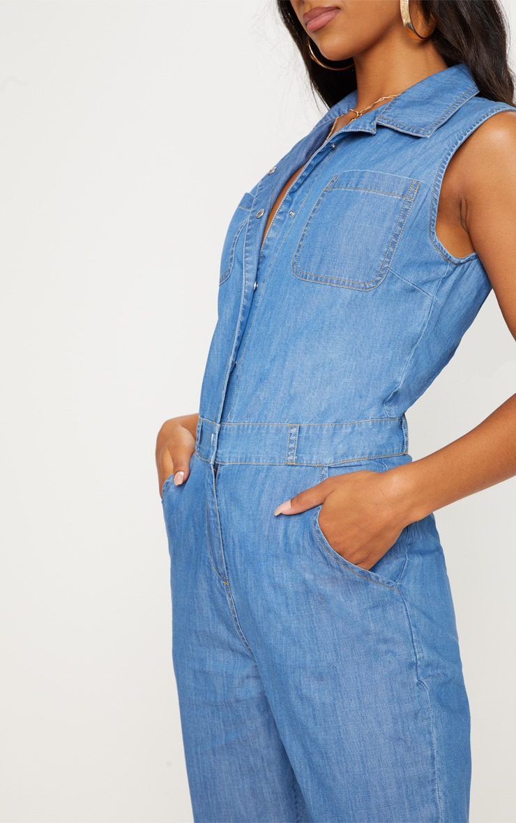 Mid Wash Sleeveless Utility Boilersuit 5