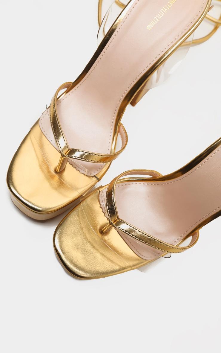 Gold Toe Thong Platform Sandal 3