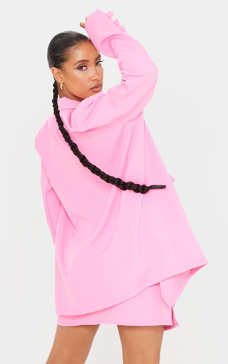 Candy Pink Woven Button Sleeve Detail Blazer 2