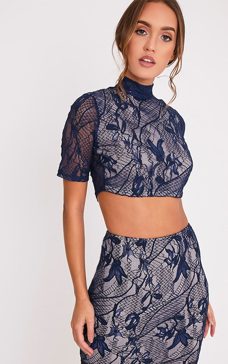 Leela Navy Lace Short Sleeved Crop Top 1