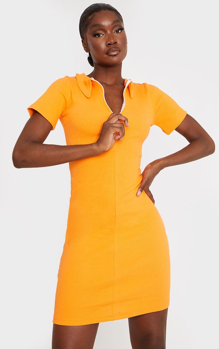 Tall Orange Thick Rib Zip Up Polo Collar Bodycon Dress 3